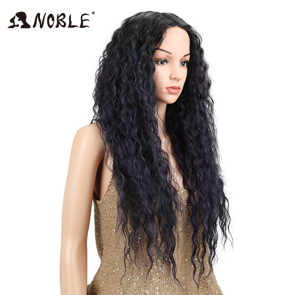 NOBLE Ombre Wig Kinky Curly Deep Middle Part Lace 150 Density Long 26 Heat Resistant Synthetic Wigs For Black Women
