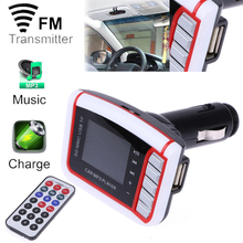 Tiptop New LCD Car Cigarette lighter MP3 Player Wireless FM Transmitter Modulator with USB SD MMC Card remote fm tuner Kit