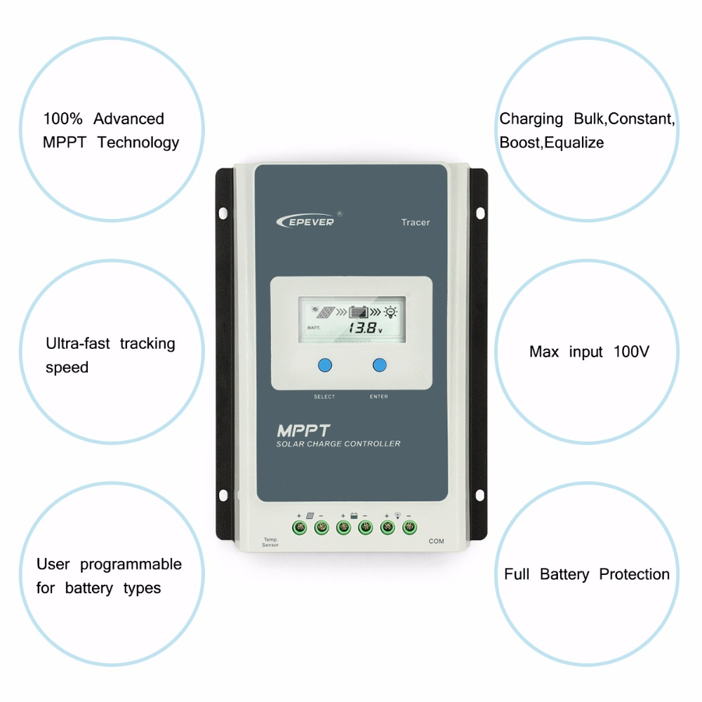 New Epever Tracer Mppt 40a Solar Charge Controller 12v 24v Lcd Circuit Diagram Simple Diaplay Regulator 4210an In Controllers From Home Improvement On