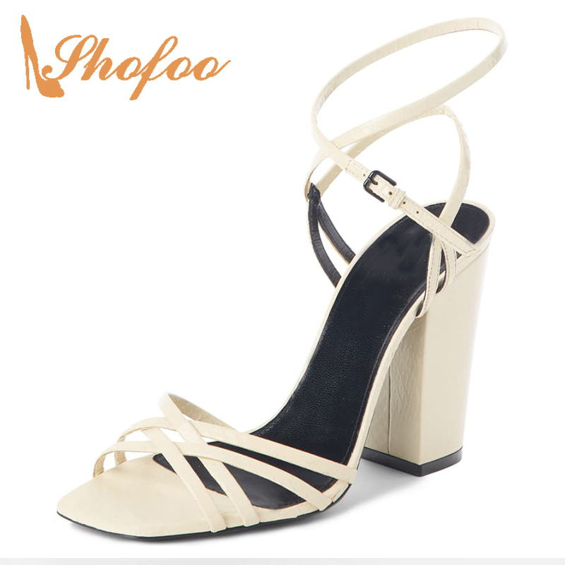 White High Chunky Heels Sandals Woman Cross Ankle Buckle Strap Large Size 11 15 Soft Leather Ladies Shoes Elegant Fashion Shofoo