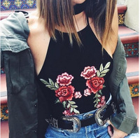 2017 Spring Clothes New Pattern Europe Station Foreign Trade Flower Embroidery Halter Camisole Small Vest Woman 1825
