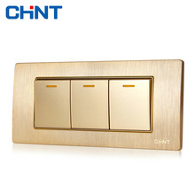 CHINT Electric Decor Light Switches 118 Type Switch Socket NEW5D Embedded Steel Frame Three Gang Two Way