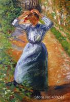 Canvas Art Reproduction Peasant Donning Her Marmotte Camille Pissarro Paintings for sale hand painted High quality