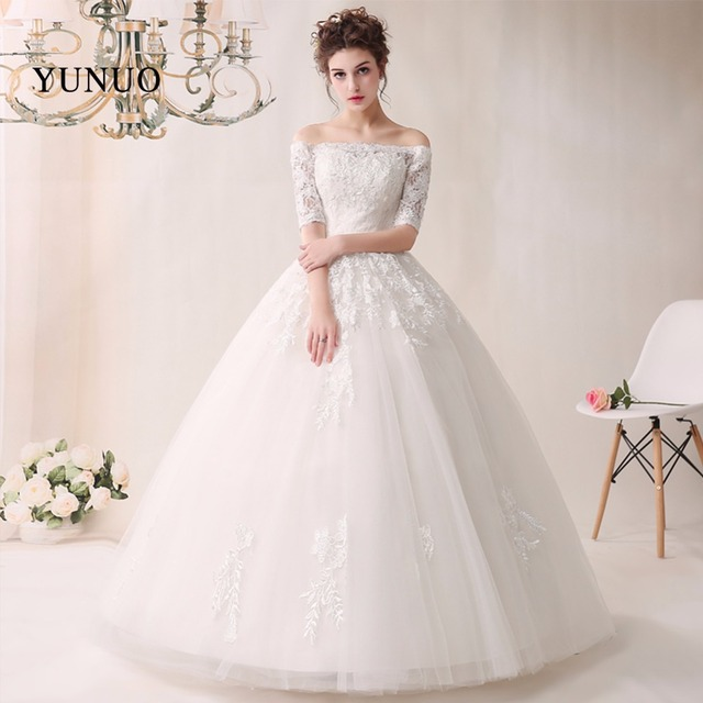 951b3c91 100% Real Sample Boat Neck Organza Long Wedding Dresses 2019 half Sleeves  Back Lace UP Appliques Floor Length Wedding Gowns YN