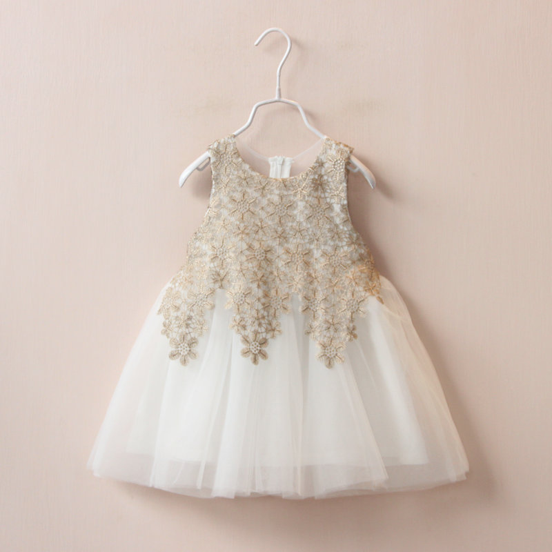 e158f5ee2 new girls summer dress lace Cutout flowers kids dress baby sweet ...