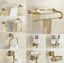 цена Antique Brass Bathroom Hardware Towel Shelf Towel Bar Paper Holder Cloth Hook Bathroom Accessory Wall Mounted Kxz011 онлайн в 2017 году