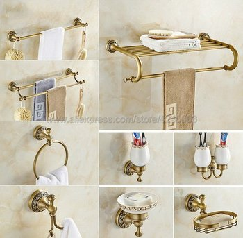 Antique Brass Bathroom Hardware Towel Shelf Towel Bar Paper Holder Cloth Hook Bathroom Accessory Wall Mounted Kxz011 solid brass bathroom towel rack single bar carved holder antique brass bathroom towel holder wall mounted