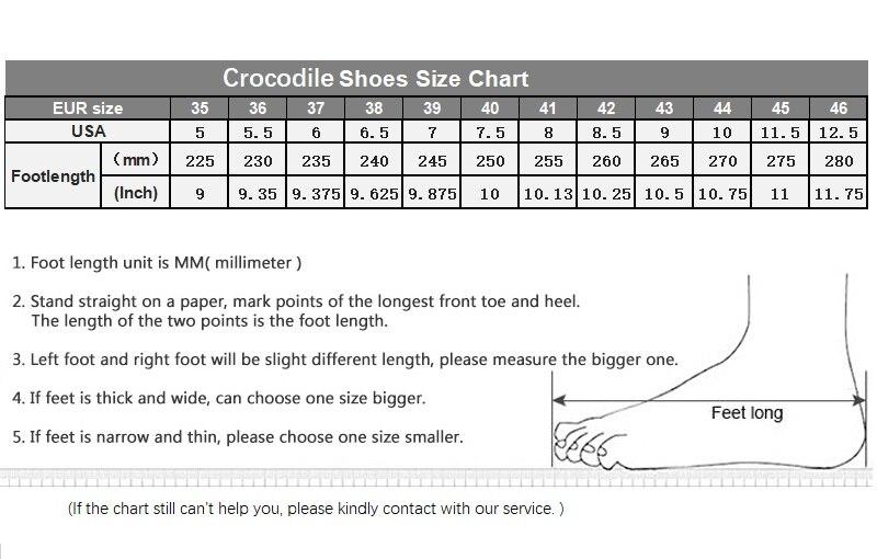 Crocodile Shoes size chart