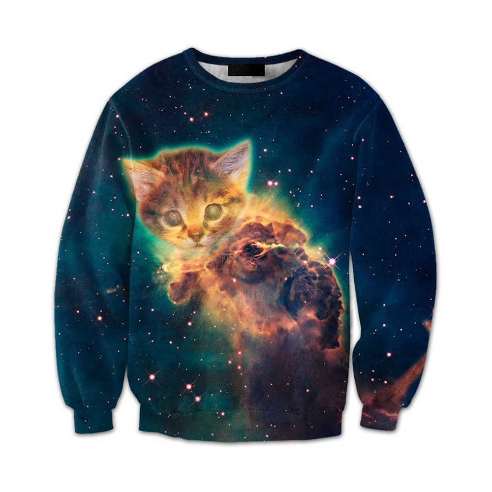 Spring Pullover Blue Starry Sky Men Gothic Pullovers Cat Printed Male Casual Tops Harajuku Style Fitness Man Loose 3d Sportswear