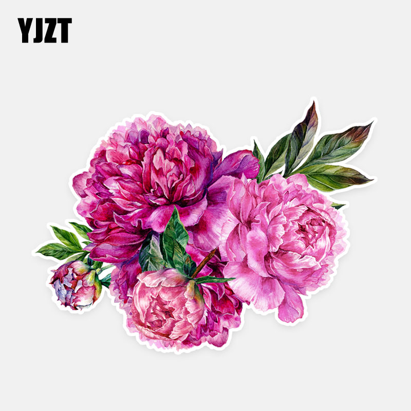 YJZT 14.2*10.5CM Beautiful Peony Flowers Modelling Decor Car Stickers High Quality Graphic 11A0906