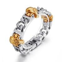 Hip Hop Biker Cool 3 Skeleton Skulls Set Cuban Miami Link Chain Bangles Bracelets for Men Rock Jewelry Gold Silver Black
