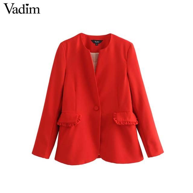 release date 047b3 f807e US $22.47  Vadim donne elegante increspato rosso giacca tasche del cappotto  singolo pulsante manica lunga cappotti donna casual chic tuta sportiva top  ...