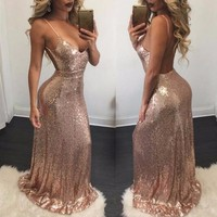 Sexy Backless Bandage Bodycon Dress Sparkly Party Elegant Floor Length Women Deep V Rose Gold Black