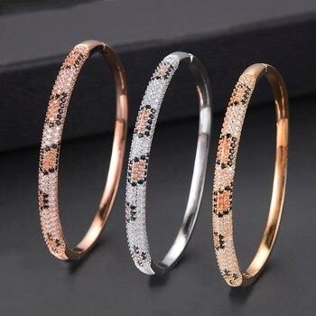 1487748fab00 Oceanario alta calidad Cubic Zirconia boda brazaletes para las mujeres marca  de lujo cobre CZ brazalete pulsera joyas de plata brt-a90