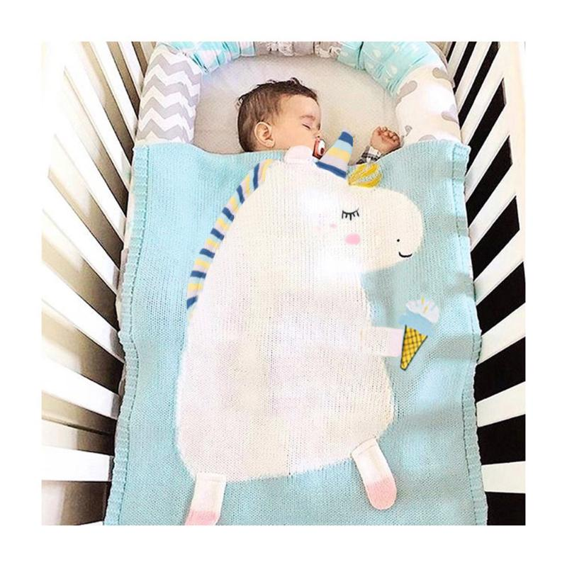 Cute Baby Blankets Warm Infant Swaddle Wrap Kids Lovely Cartoon Soft Knitted Swaddle Car Stroller Bedding Quilt Kids Bath Towel