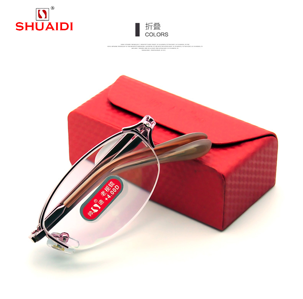= SHUAI DI = Fashion Portable Folding Women Reading Glasses Pink High Quality Alloy Eyeglasses With Case +0.5 +0.75 +1 to +6