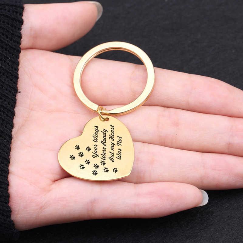 Accessoires Je Vleugels Waren Klaar Maar Mijn Hart Was Niet Party Gunsten Hartvormige Sleutelhanger Fashion Huisdieren Verlies Souvenir Sleutelhangers