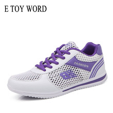 купить E TOY WORD Ladies Sneakers Summer Women flat Shoes Breathable Mesh Shoes Light Casual Shoes Hollow Lace-Up Walking sneakers дешево