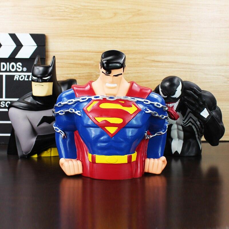 1Pcs The Super Man Superman Batman Venom Figure Doll Toy Piggy Bank Save Money Box Spiderman 18cm/20cm Great Gift 17cm avengers superhero spider man venom superman pvc action figure toys piggy bank save money box