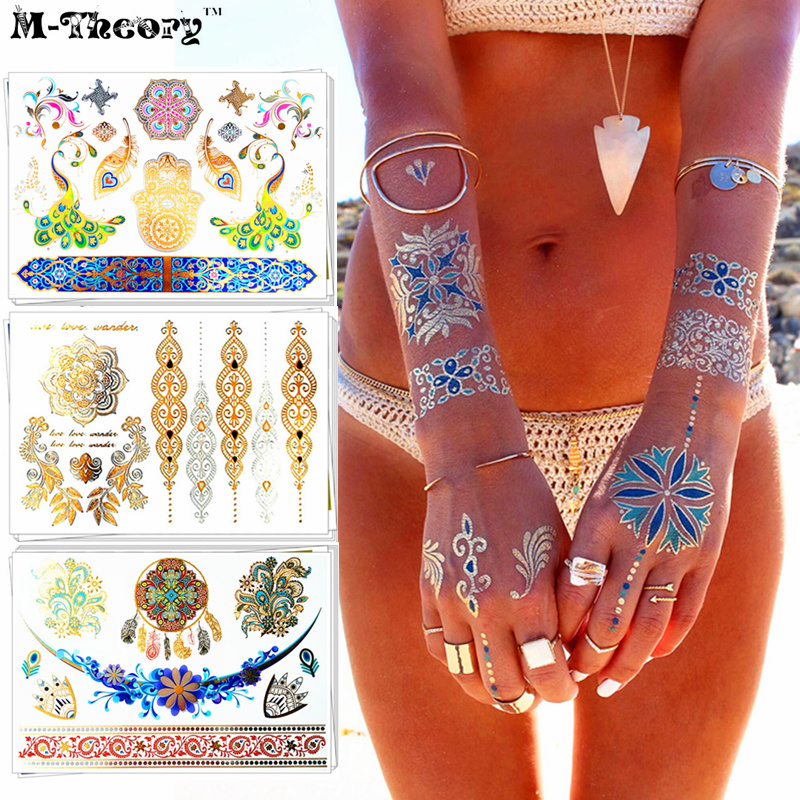Gold Metallic Gargantilla Flash Tattoo Sticker 21 * 15 cm Impermeable - Tatuaje y arte corporal
