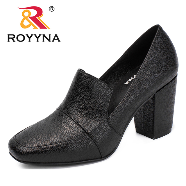Aliexpress.com   Buy ROYYNA New Arrival Mature Style Women Pumps Square Toe  Women Dress Shoes High Heels Lady Wedding Shoes Comfortable Free Shipping  from ... 85229b1b07cc