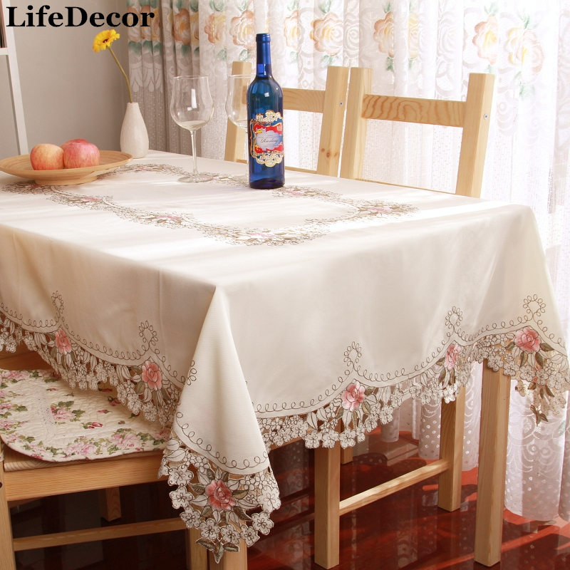Fashion Satin Cutout Embroidery Cloth Gremial Tv Table