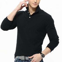 Men's Casual Solid Color Turn-Down Collar Long Sleeve Polo Shirt Pullover Top(China)