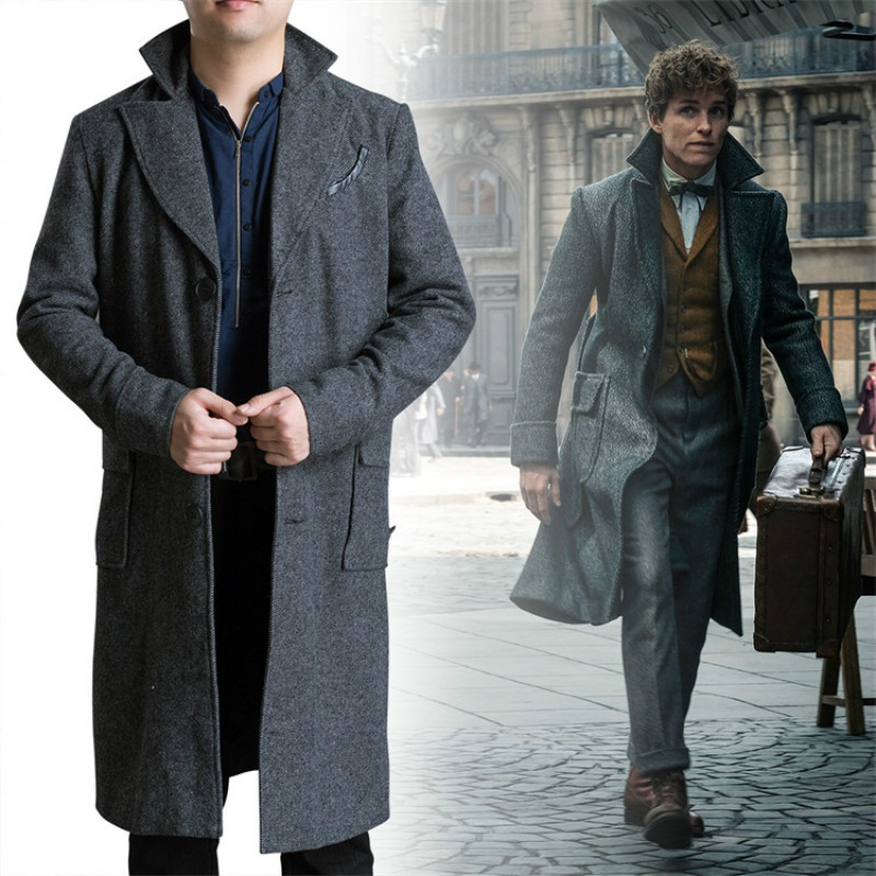 Cos Fantastic Beasts  The Crimes of Grindelwald Newt Scamander Cosplay  Costume Male Long Trench Outwear 4b05996bd15a