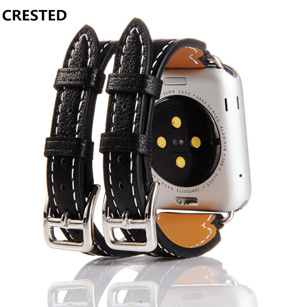 CRESTED genuine leather strap for apple watch band 42mm/38mm iwatch series 3 2 1 Double buckle wirst bands straps bracelet belt crested crazy horse strap for apple watch band 42mm 38mm iwatch series 3 2 1 leather straps wrist bands watchband bracelet belt
