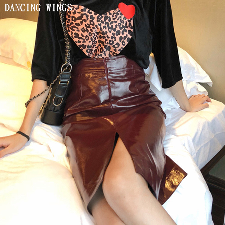 Women Skirts Winter Fashion PU Leather Skirts Vintage High Waist Package Hip Skirt Sexy Red Bodycon OL Midi Skirt