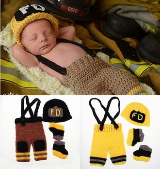 New Character Unisex Cotton Baby Newborn Photography Props Costume Hand Crochet Knit Infant Fireman Hat pants and shoes set football baby hat and shorts suit hot sale baby handmade cotton costume newborns photography props infant outfits