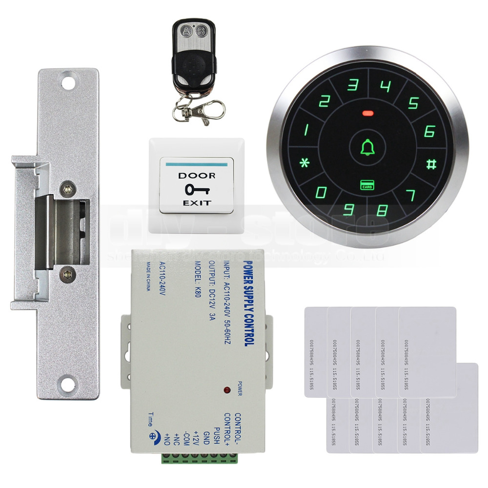 DIYKIT Access Control System 8000 Users 125KHz RFID Reader Password Keypad + Electric Strike Lock Door Lock Security Kit