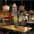 Винтажный подвесной светильник с веревкой  оригинальная индустриальная лампа в стиле лофт  лампа Эдисона в американском стиле для украшени...