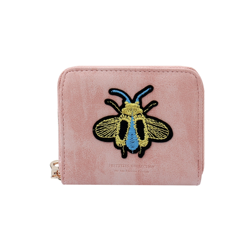 Fashion Women Cute Bee Embroidery Mini Short Wallet PU Leather Lady Vintage Zipper Cash Coin Purse Female Card Holder Bag