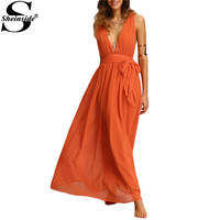 Sheinside Deep V Neck Self Tie Waist Maxi Dresses Bohemian Summer Womens Sexy New Orange Sleeveless