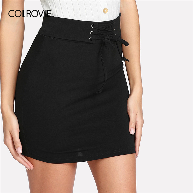 COLROVIE Black Solid Lace Up Waist Bodycon Casual Skirt Women Clothing 2019 Summer Rock Korean Mini Skirt Club Sexy Lady Skirts-in Skirts from Women's Clothing