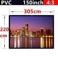 Toda venda 150 polegada de fosco com 1.1 ganho de tela de projeção 4:3 PVC de parede para todos 3d led projetor dlp hd mini casa