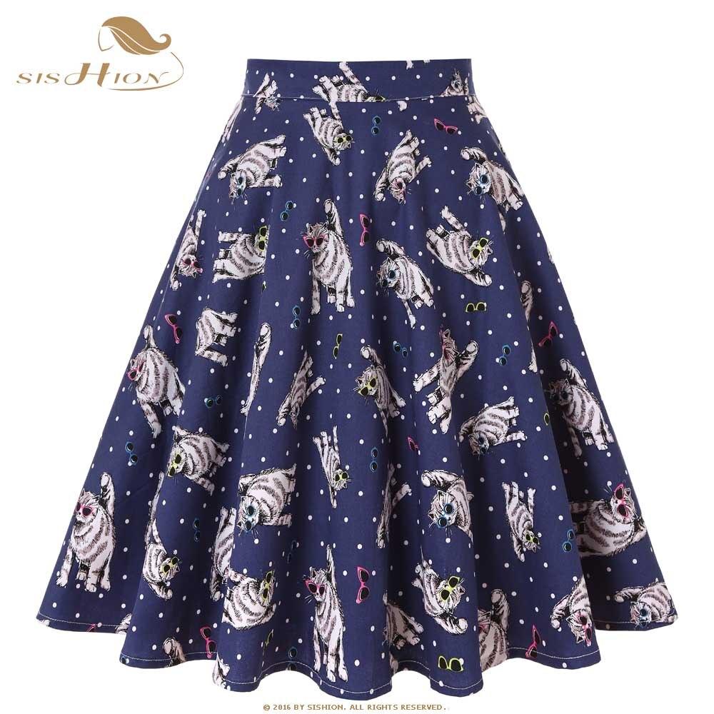SISHION Cotton Summer Skirt Women High Waist Glasses Cats Print Polka Dot Vintage Swing Short Blue Skater Midi Skirts VD0020