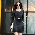New Arrival  2016 Autumn and Winter Fashion Korean Slim Women Dress Female Long Sleeve Plaid Plus Size Sweet Dress 852C 30