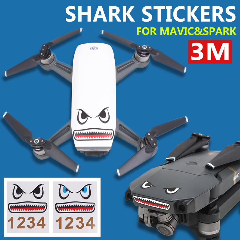 2 Pcs DJI SPARK and Mavic Pro Drone Skin Stickers 3M Stickers Shark Face Decals Smarthpone Stickers for DJI MAVIC PRO & Spark