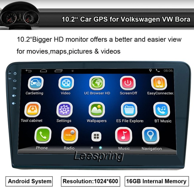"""10.2"""" Bigger Screen Android Car Video GPS Navigation for Volkswagen VW Bora Radio Stereo Player Wifi Mirror Link Bluetooth FM AM"""