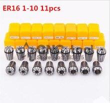 무료화물 ER16 11 PCs 클램프 세트 밀링 CNC 조각 공작 기계 모터 축에 대 한 1 mm 10 mm 범위.