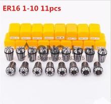 Juego de abrazaderas ER16, 11 uds, rango de 1 mm a 10 mm para herramienta de fresado máquina de grabado CNC eje del motor.