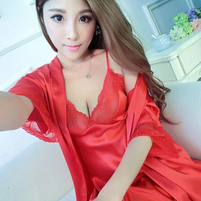 Две Части Сексуальные женские Pijamas Устанавливает Бесплатная Доставка Женское платье наборы Высокое Качество Кружева Случайные Домашняя Одежда Ночная Рубашка + Халат наборы