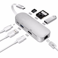 Moveski YC206 Type C Hub Aluminum 7 In 1 USB C Adapter 3 1 Charging Port