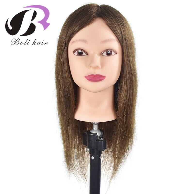 100% tête de Mannequin de cheveux humains tête de formation de cheveux de coiffure Mannequin cheveux naturel tête de Mannequin de coiffeur avec des cheveux humains