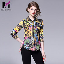 2019 Spring Long Sleeve Shirt Women Designer Runway Tops Print Vintage Blouses Ladies Office Shirts Casual Blusas Mujer De Moda