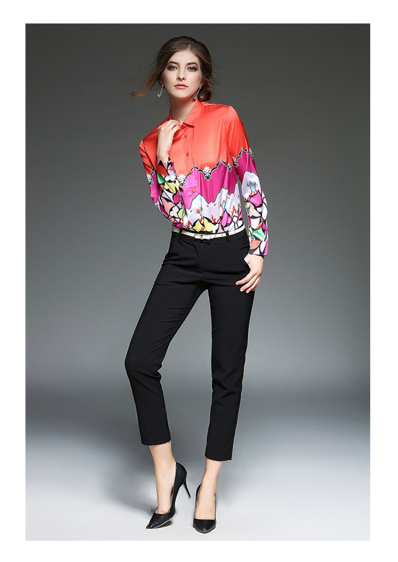 Hot Sale 2017 Women's Europe America style Printing Blouse Fashionable Long Sleeves Shirt Female Blusas 851F 30