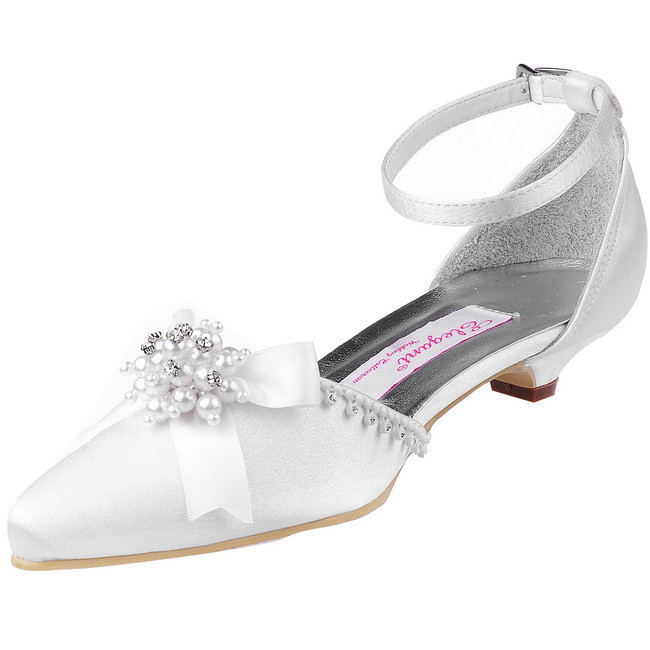 WM-018 Pointed Toe ankle strap bridal wedding shoes Low Cone Heel Satin lady bride prom evening party pumps white silver