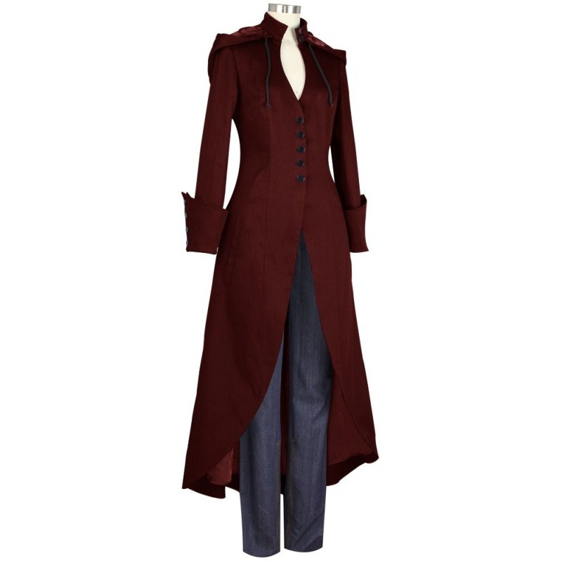 Outerwear Hooded Tailcoat Women Long-Sleeve Slim Vintage Autumn Winter Single-Breasted